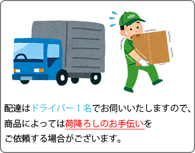 ドライバーは1名でお伺いいたしますので、商品によっては荷降ろしのお手伝いをご依頼する場合がございます。