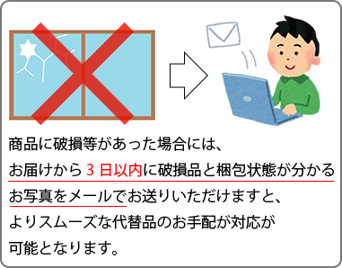 商品に破損等があった場合には、お届けから3日以内にメールをお送りください。
